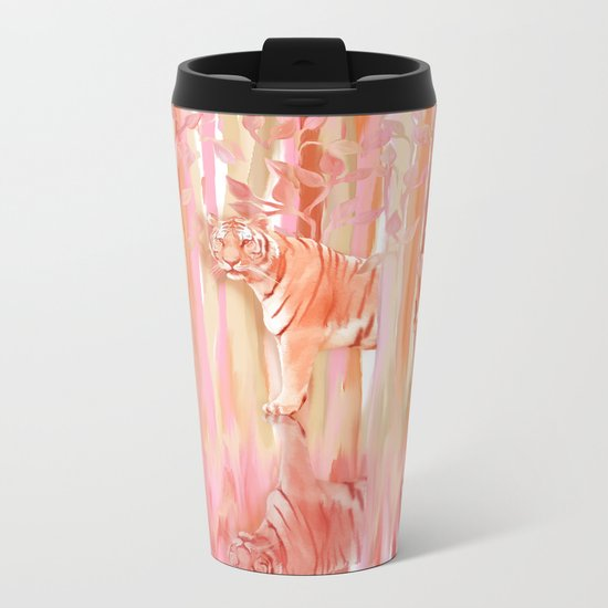 Tiger in the Trees - Painting / Collage Metal Travel Mug