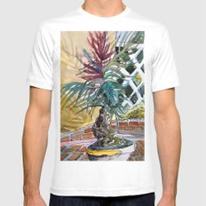 Sunny Palm Tree Mens Fitted Tee White MEDIUM