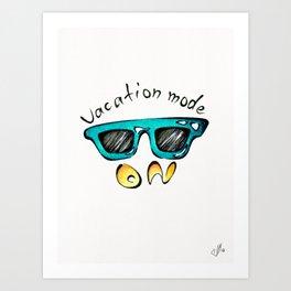 Vacation mode On turquoise artprint Art Print