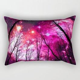 Black Trees Hot Pink Fuchsia Space Rectangular Pillow