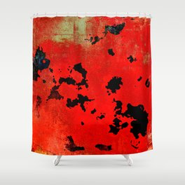 Red Modern Contemporary Abstract Textured Design Shower Curtain