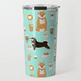 Shiba Inu coffee dog breed pet friendly pet portrait coffees pattern dogs Travel Mug