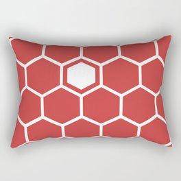 Hexagon Pattern Red Rectangular Pillow