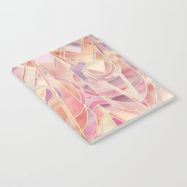 Glowing Coral and Amethyst Art Deco Pattern Notebook