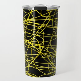 Black with yellow scribbling lines, happy yellow art, less is more Travel Mug