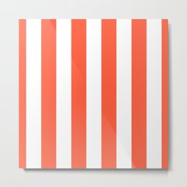 Living Coral and White Wide Vertical Cabana Tent Stripe Metal Print
