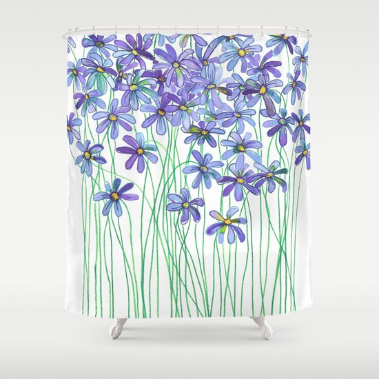 Purple Daisies in Watercolor & Colored Pencil Shower Curtain