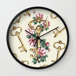 Vintage Floral Key Wall Clock