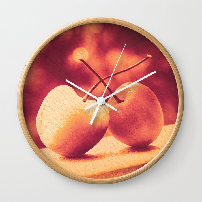 Sweet Moment (Rainier Cherries with Gold & Wine Red Bokeh Background) Wall Clock