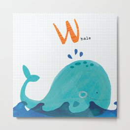 W is for Whale Metal Print