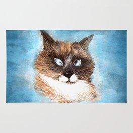 Mumbai the Cross-Eye Cat (Pet Portrait Watercolor) Rug