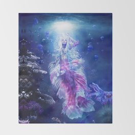 The Mermaid's Encounter Throw Blanket