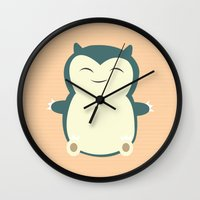 snorlax Wall Clocks featuring It aint easy being sleepy. by Glassy