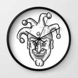 Crazy Medieval Court Jester Drawing Wall Clock