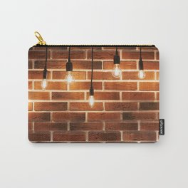 brick wall and decorative incandescent lamps Carry-All Pouch