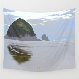Illustrated Haystack Rock Wall Tapestry