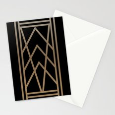BLACK AND GOLD 2 (abstract geometric art deco) Stationery Cards
