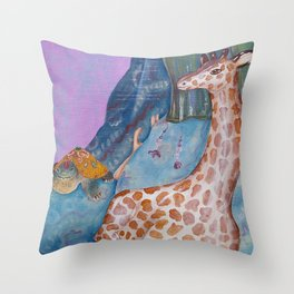 Turtle and the Giraffe Throw Pillow