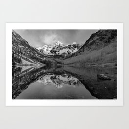 Maroon Bells Sunrise Monochrome - Aspen Colorado Art Print