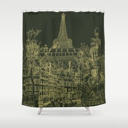 Paris! Olive Shower Curtain