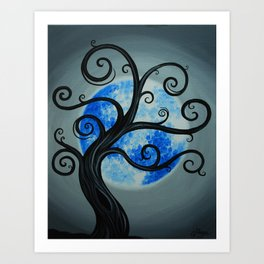 Funky Tree Blue Moon Art Print