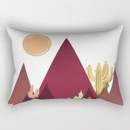 Cactus with Mountain - Vintage Rectangular Pillow