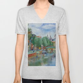 Amsterdam landscape dutch city street scene oil painting Unisex V-Neck