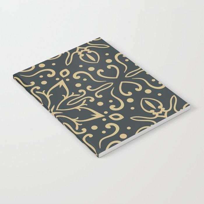 Decorative Floral Pattern 5 - Luxury, Outer Space and Tan Colors Notebook
