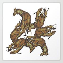 Pattern of crayfish Art Print
