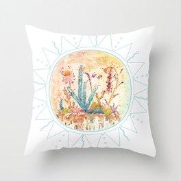 Cactus and Sun Art Illustration Throw Pillow