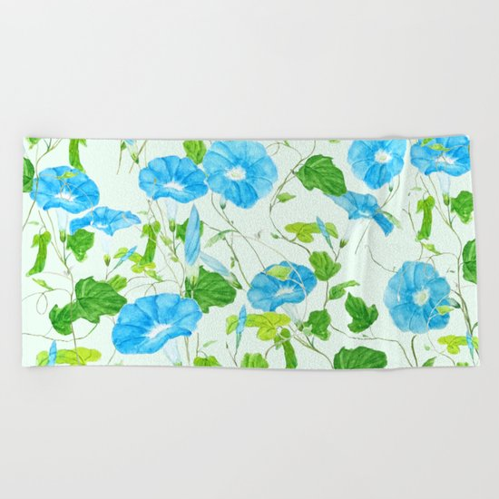 blue morning glory pattern Beach Towel
