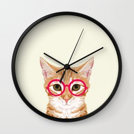 Ginger - Cute cat with glasses hipster cat art for dorm college decor funny cat lady meme Wall Clock