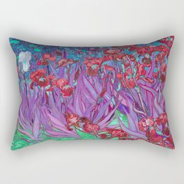 Vincent Van Gogh Irises Painting Cranberry Purple Palette Rectangular Pillow