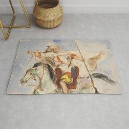 "Eugène Delacroix ""Cavalier arabe à cheval"" Rug"