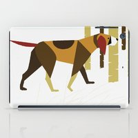 the hound iPad Cases featuring Winter Hound by Freedom Art Inc.