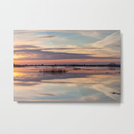Sunrise over Biebrza river in Poland Metal Print