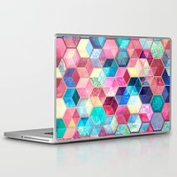 crystal Laptop & iPad Skins featuring Topaz & Ruby Crystal Honeycomb Cubes by micklyn