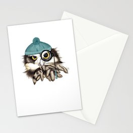 Owl eyeglass and cap Stationery Cards