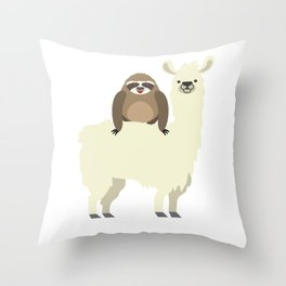 Cute & Funny Sloth Riding Llama Throw Pillow