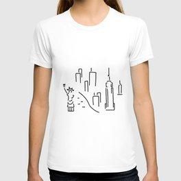 new York the Statue of Liberty skyscraper T-shirt