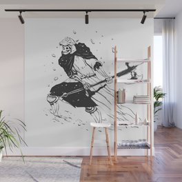 Skull knight in the snow - black and white - medieval grim reaper Wall Mural