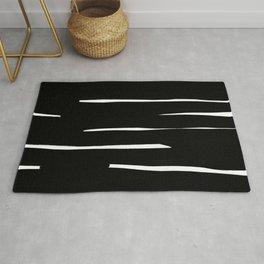Maze Black & White Minimalist Ink Tribal Mid Century Pattern Dark Painting Pattern Rug