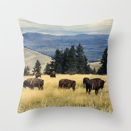 National Parks Bison Herd Throw Pillow