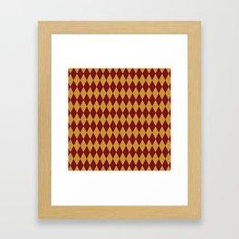 Geometric burgundy yellow orange diamond shapes stripes Framed Art Print