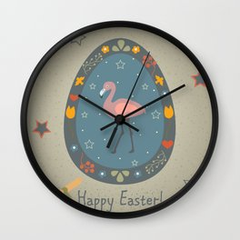 Festive Easter Egg with Cute Flamingo Bird Wall Clock