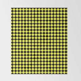 Black and Electric Yellow Diamonds Throw Blanket