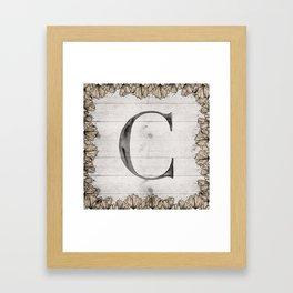 Neutral Monogram C Framed Art Print