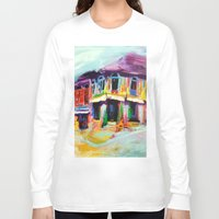 singapore Long Sleeve T-shirts featuring Club Street, Singapore by Kasia Pawlak
