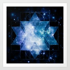 galaxy sacred geometry Turquoise Teal Art Print