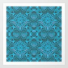 Turquoise Deco Pattern Art Print